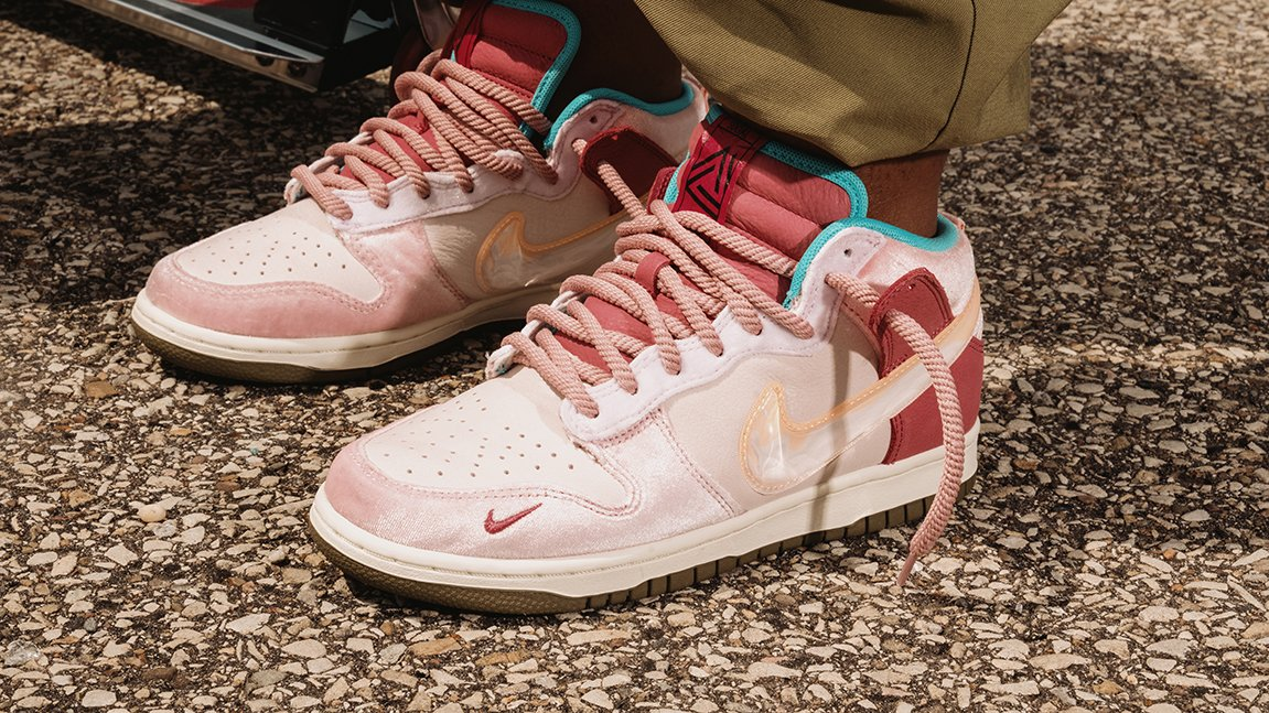 Nike Dunk Mid Social Status Chocolate Milk on foot